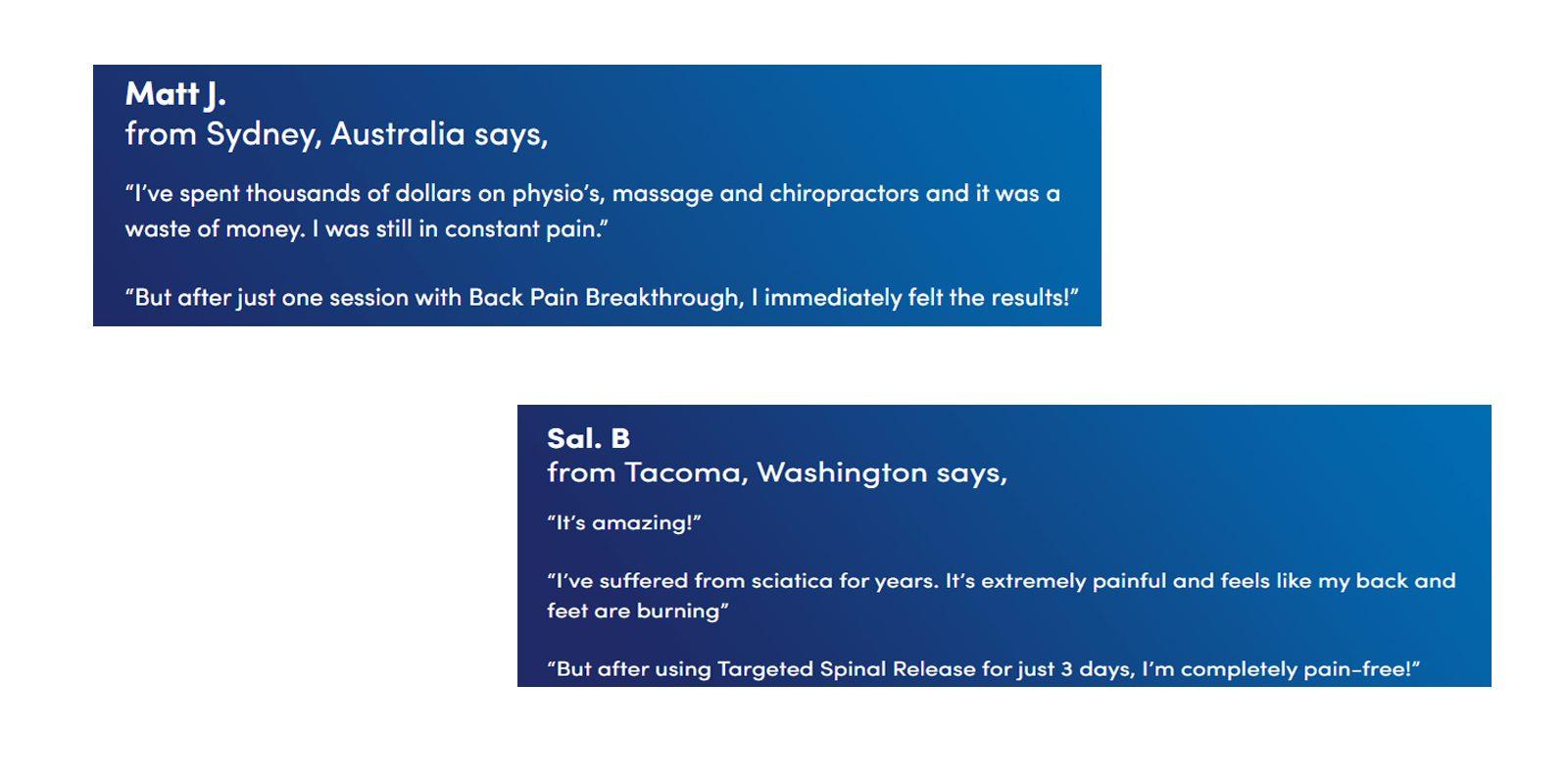 Back pain Breakthrough customer reviews