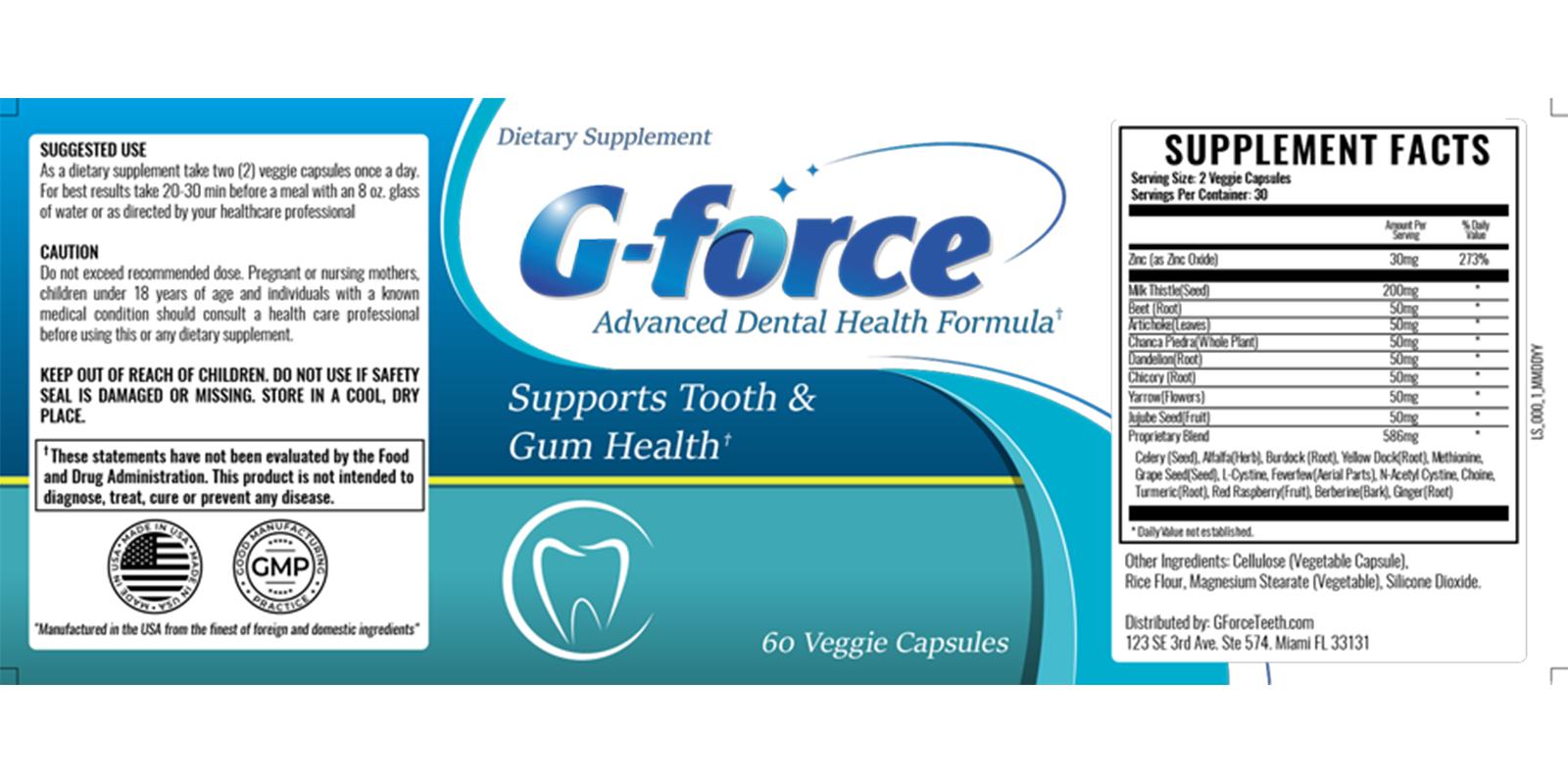 G-force dental health supplement dosage