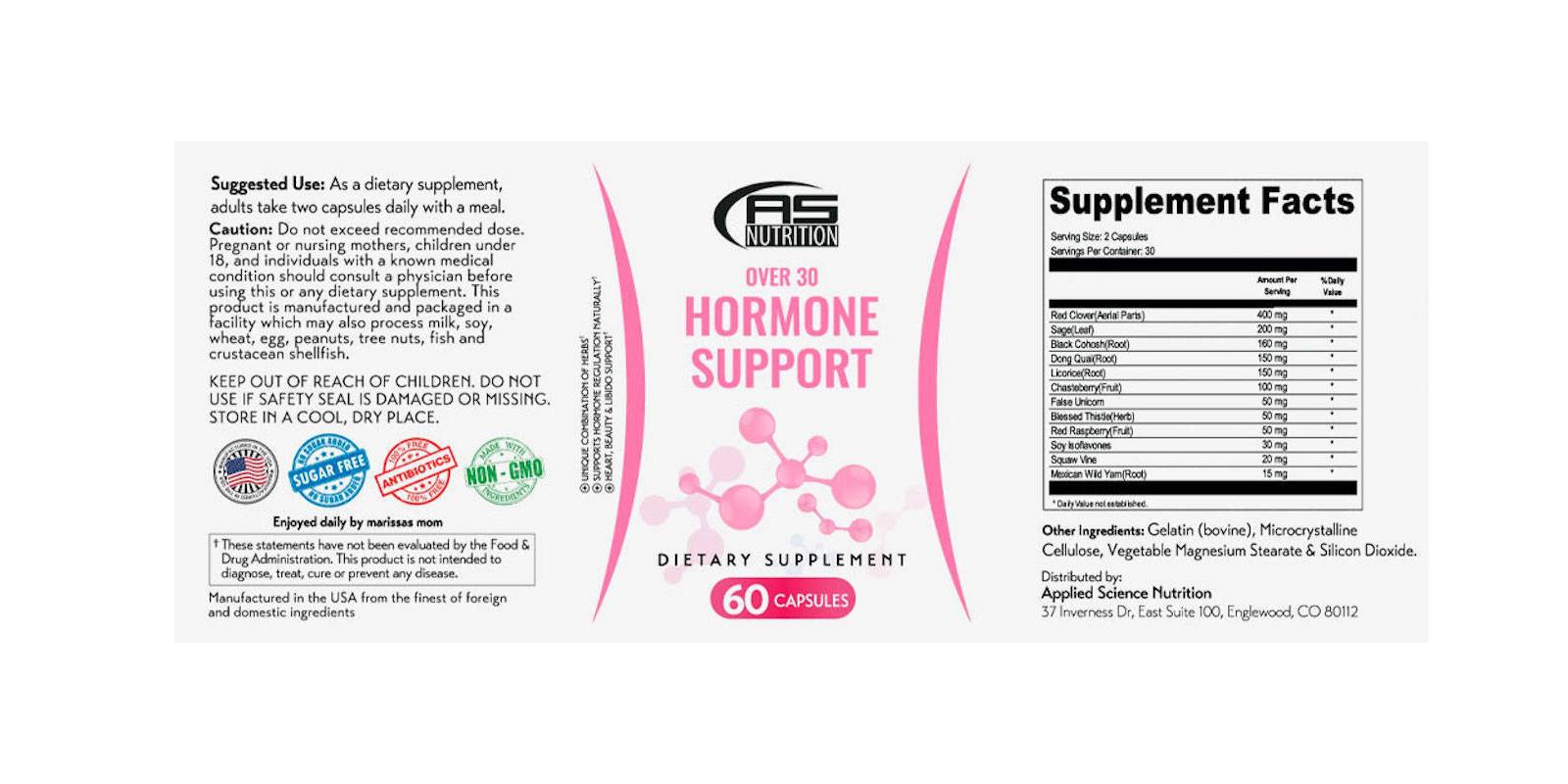 Over 30 Hormone Support Ingredients
